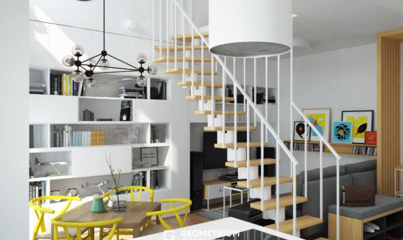Двухъярусная квартира в скандинавском стиле: Химки