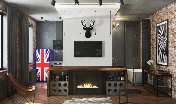 Дизайн однокомнатной квартиры дляAlex Rey design studio: Лофт-31