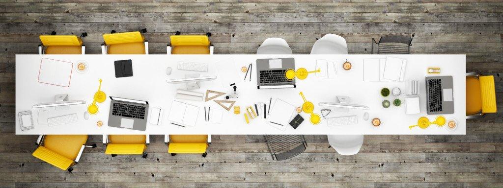 Top view office room, wooden floor background